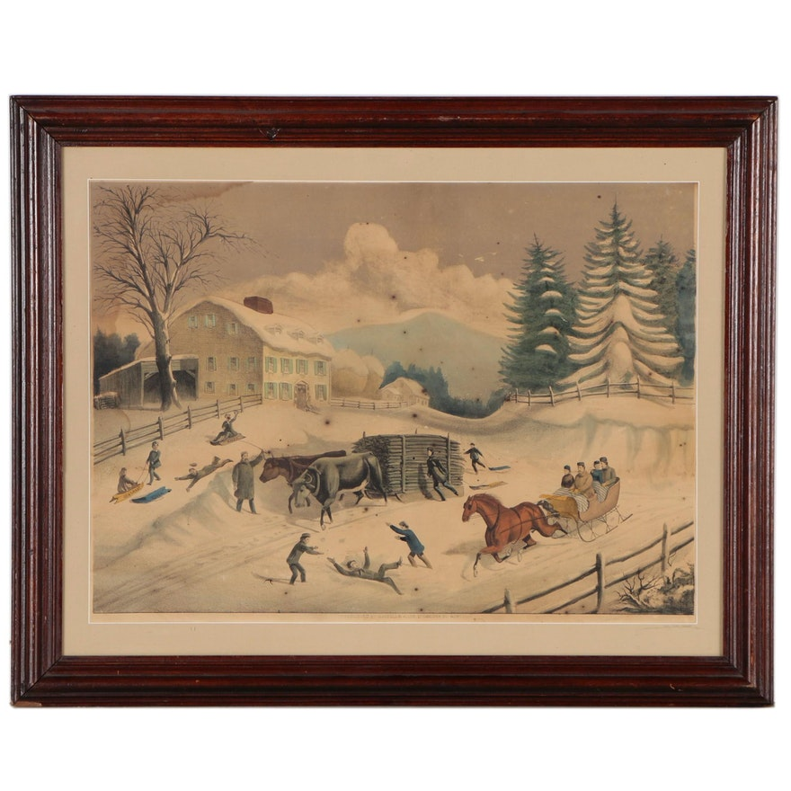 """Haskell & Allen Hand Colored Lithograph""""Winter"""", Circa 1870"""