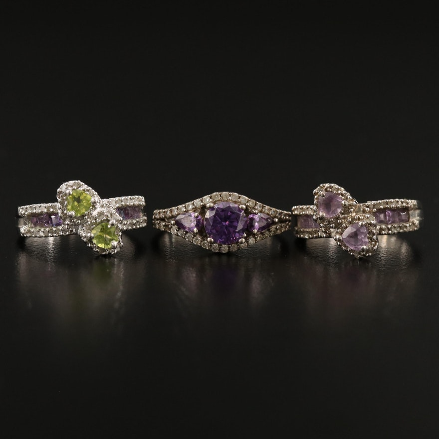 Sterling Silver Rings with Peridot, Amethyst and Diamond