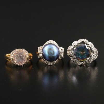 Sterling Silver Rings with Quartz, Pearl and Diamond