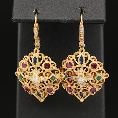 18K and 14K Emerald, Ruby, Sapphire and Diamond Scroll Motif Openwork Earrings