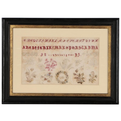 Embroidered Needlework Alphabet Sampler, Early 19th Century