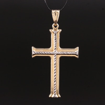 14K Two-Tone Patterned Cross Pendant