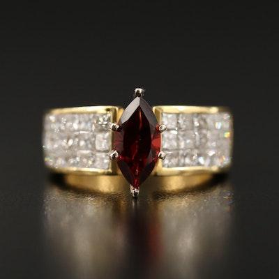18K Garnet and 1.85 CTW Diamond Ring