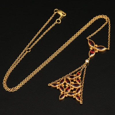 Fibula 18K Garnet and Diamond Lavalier Necklace