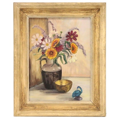 Louise Mowrey Floral Still Life Oil Painting, Mid 20th Century