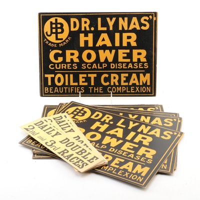 "Dr. Lynas' ""Hair Grower"" Toilet Cream and ""Daily Double"" Horse Racing Signs"