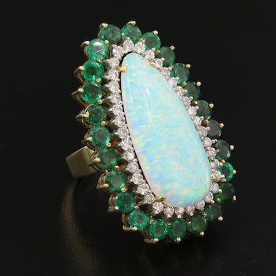 18K Opal, Emerald and Diamond Halo Pointer Ring