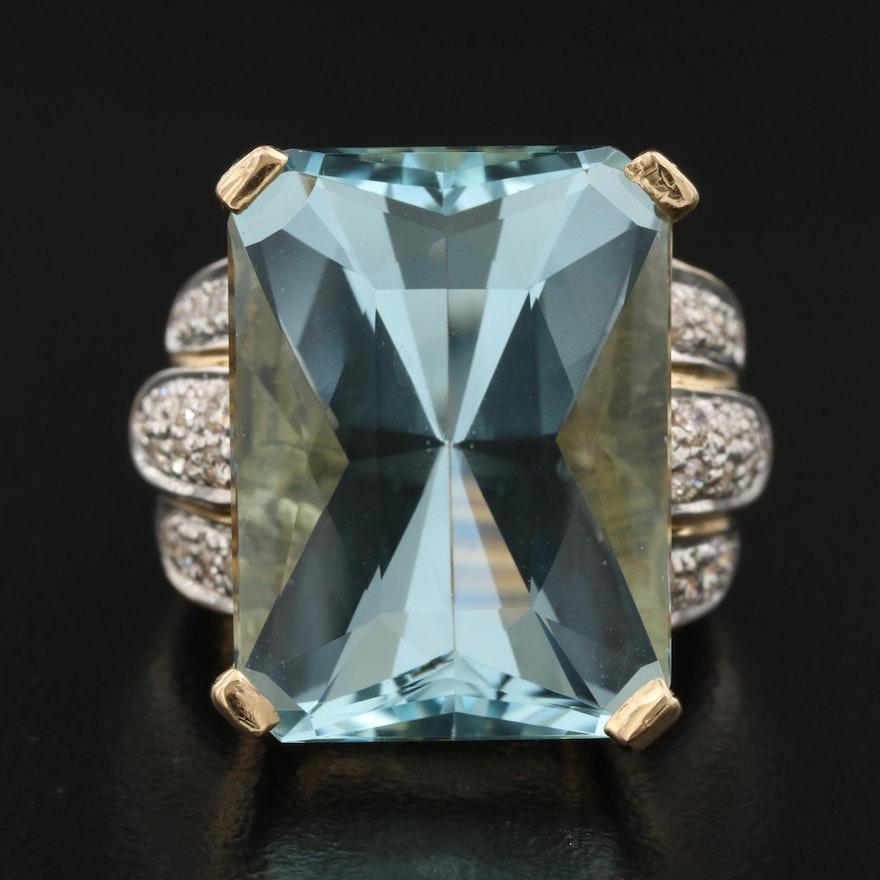 18K 20.00 CT Aquamarine and Diamond Statement Ring