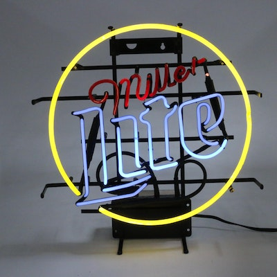 Miller Lite Neon Illuminated Beer Sign