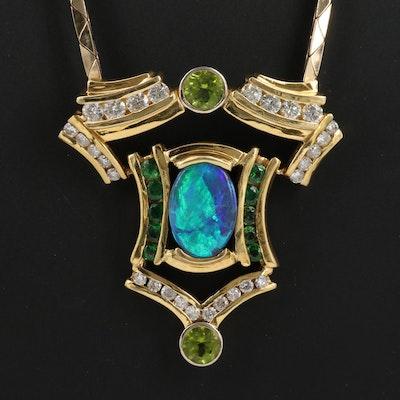 18K and 14K 7.45 CT Opal, 2.95 CTW Diamond, Peridot and Tsavorite Necklace