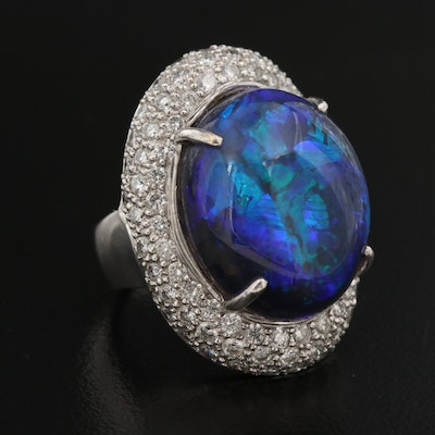 18K 15.32 CT Opal and Pavé 1.72 CTW Diamond Ring