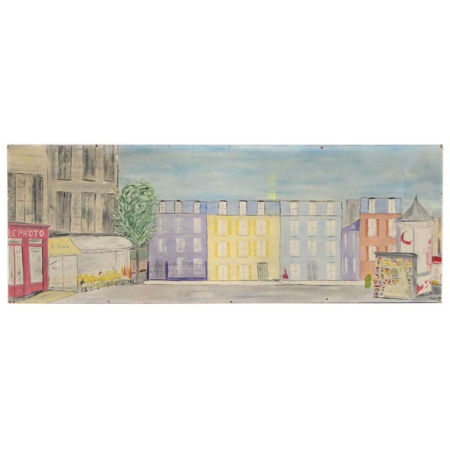 Edith Hay Wyckoff French Cityscape Oil Painting, 1962