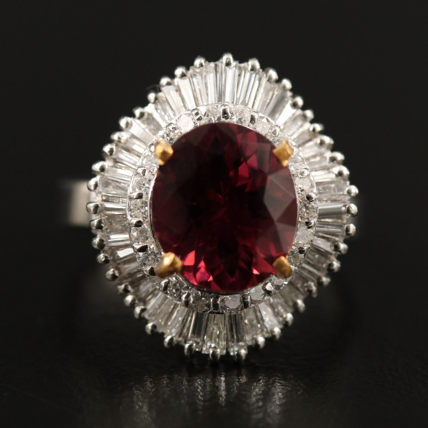 Platinum 2.94 CT Tourmaline and1.03 CTW Diamond Ballerina Ring