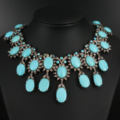 Turquoise and 4.06 CTW Diamond Necklace in 900 Silver
