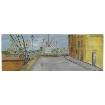 Edith Hay Wyckoff Oil Painting of Notre Dame Cathedral, 1962