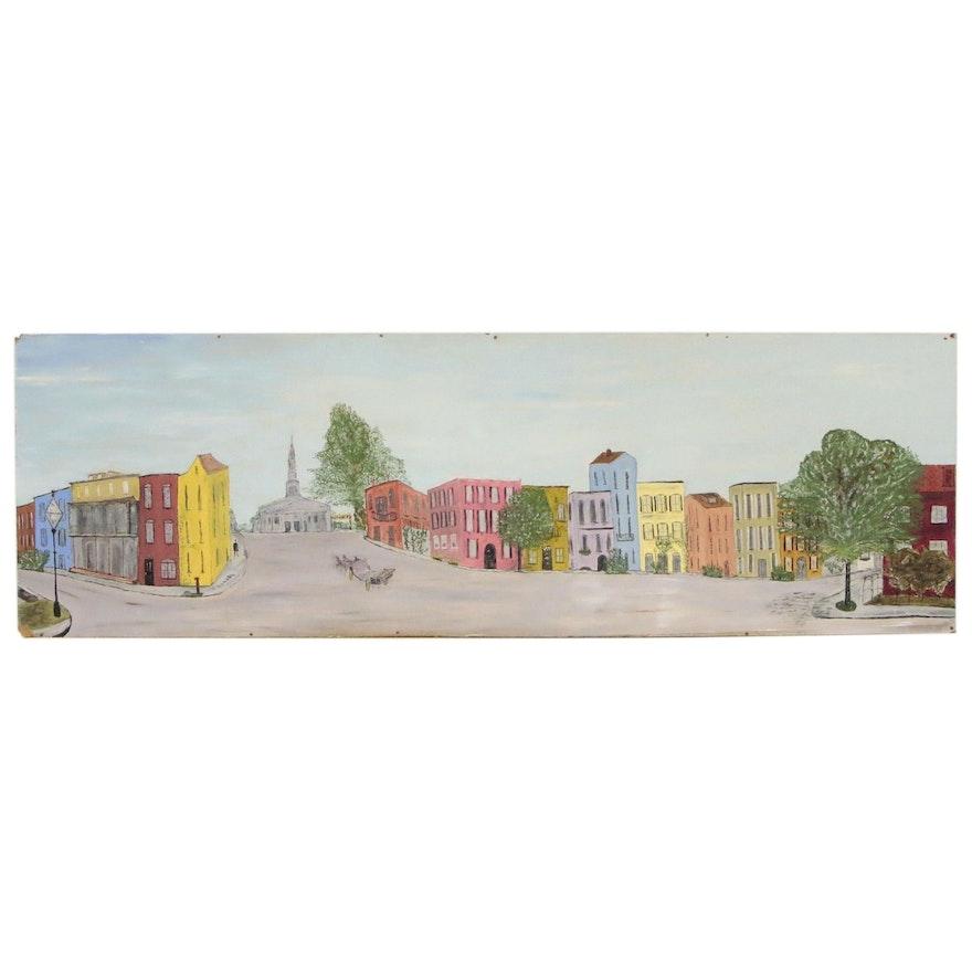 Edith Hay Wyckoff Oil Painting of Street Scene, 1956