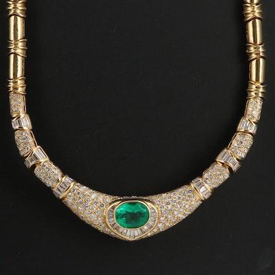 18K 5.53 CT Emerald and 10.19 CTW Diamond Arabesque Collar Necklace