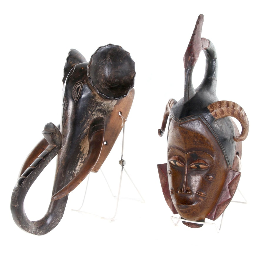 Guro Mask with Hornbill and Baule Elephant Mask, 20th Century