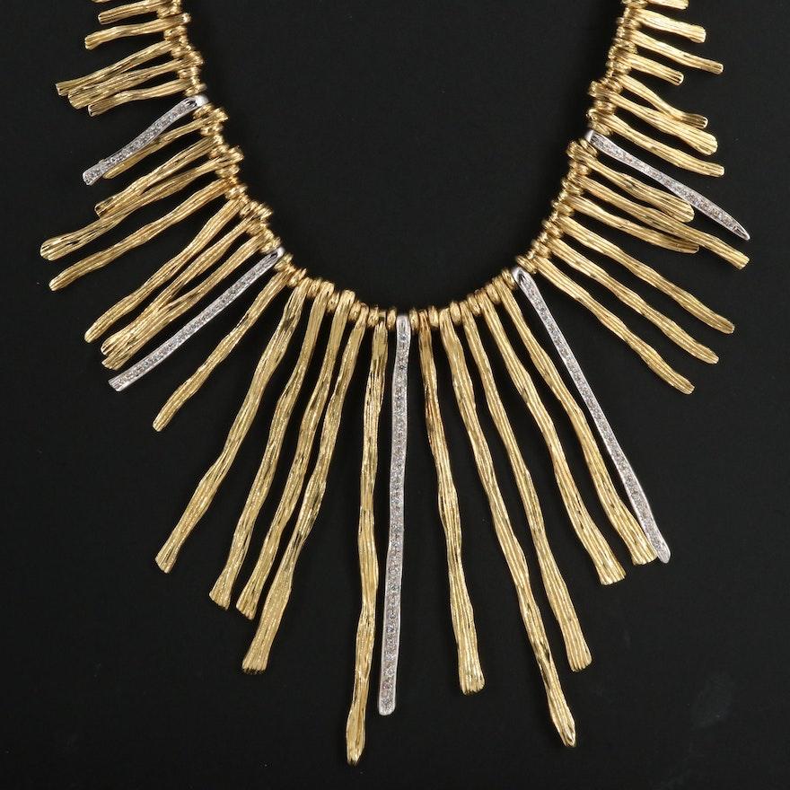 "Roberto Coin ""Elphantino"" 18K Diamond Fringe Bib Necklace with Sapphire Accents"