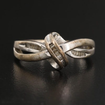 Sterling Silver Diamond Knot Ring