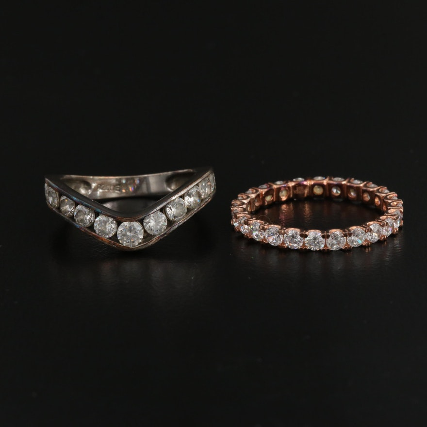 Sterling Silver Eternity and Chevron Cubic Zirconia Rings