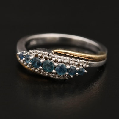 Sterling Two-Tone Sapphire and Diamond Ring