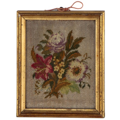 Needlepoint Floral Still Life with Beadwork, Early to Mid 20th Century
