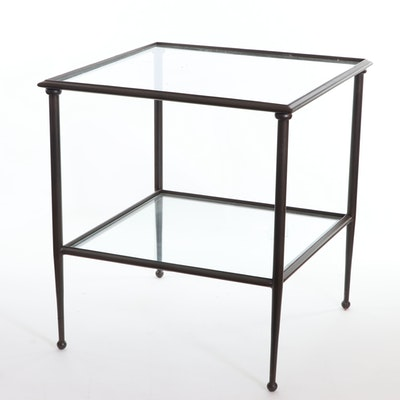 Contemporary Tiered Metal and Glass Side Table