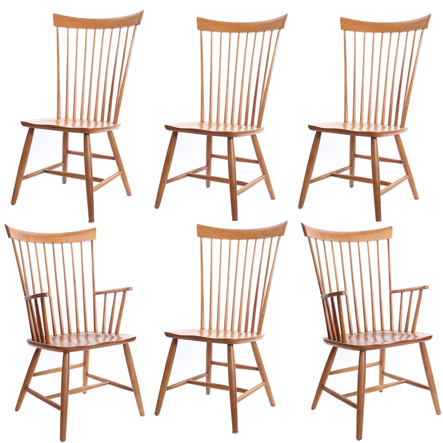 """Ethan Allen """"Country Colors"""" Spindle Fan Back Dining Chairs"""