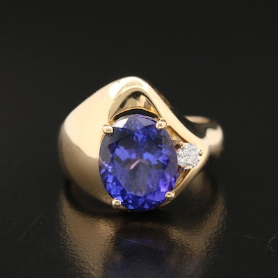14K 5.50 CT Tanzanite Ring with Diamond Accent