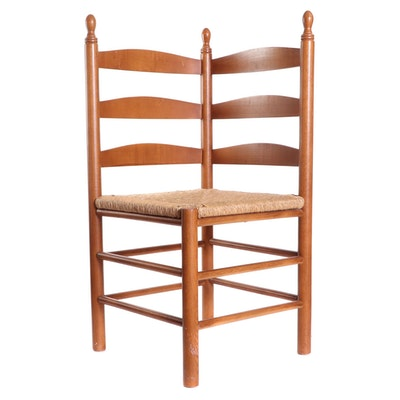 Ladder Back Rush Seat Corner Chair, Late 20th Century