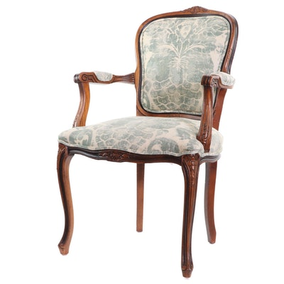 Louis XV Style Walnut Upholstered Fauteuil