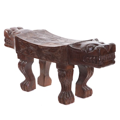 Asian Inspired Carved Wood Figural Bench