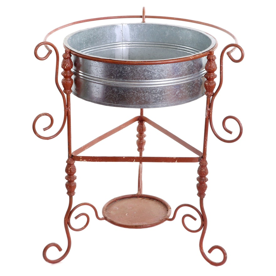 Vintage Scrolled Metal Patio Beverage Cooler Stand