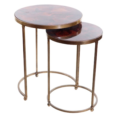 Contemporary Metal and Faux Stone Top Nesting Tables