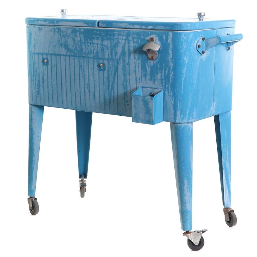 Vintage Metal Cold Drinks Freestanding Cooler on Casters