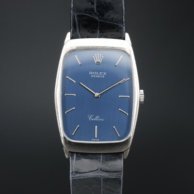 1990 Rolex Cellini 18K White Gold Stem Wind Wristwatch