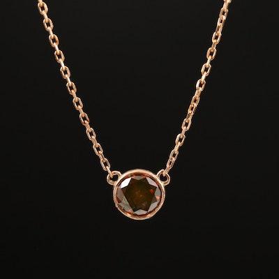 14K 0.54 CT Diamond Solitaire Necklace