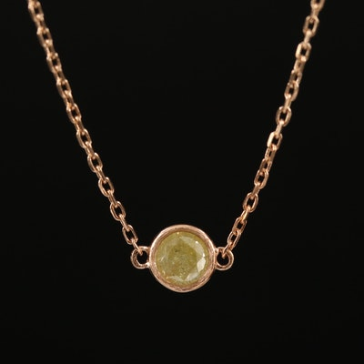 14K 0.23 CT Solitaire Diamond Necklace