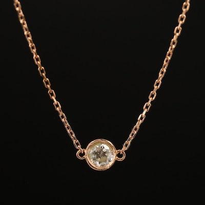 14K 0.30 CT Solitaire Diamond Necklace