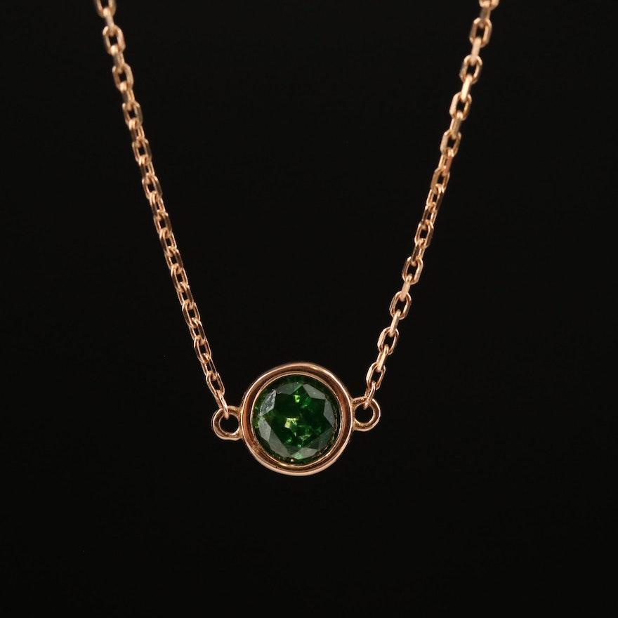 14K 0.38 CT Diamond Solitaire Necklace