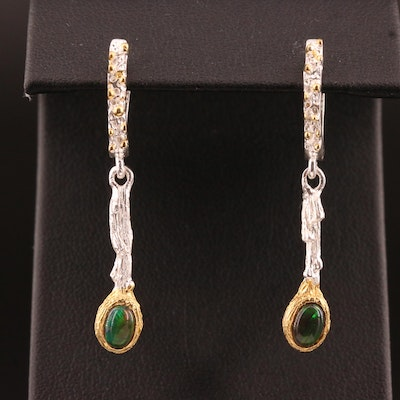 Sterling Silver and Opal Biomorphic Dangle Earrings