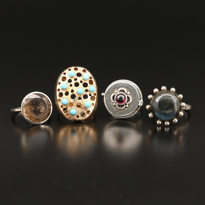 Sterling Silver Gemstone Ring Selection Including Poison Ring