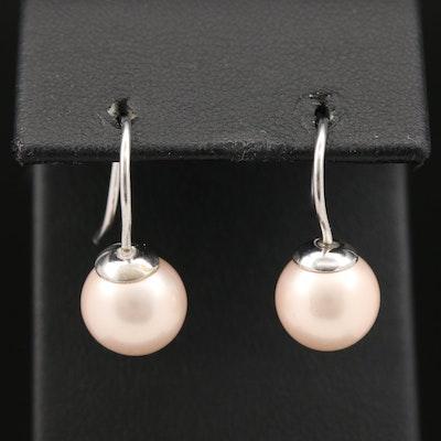 Sterling Faux Pearl Dangle Earrings