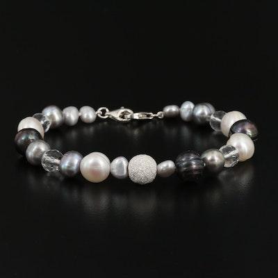 Sterling Silver Pearl and Rock Crystal Quartz Bracelet