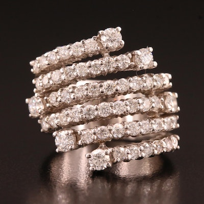14K 1.80 CTW Diamond Six Row Ring