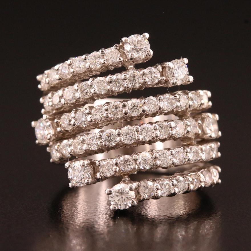 14K 1.80 CTW Diamond Six Row Ring