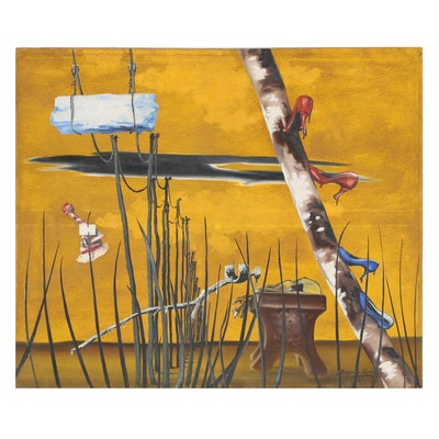 "Benjamin Mendoza Surrealist Oil Painting ""Summer"", 1961"