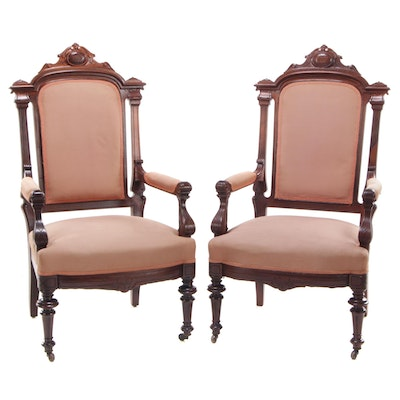 Pair of Victorian, Renaissance Revival Walnut Armchairs, Last Quarter 19th C.