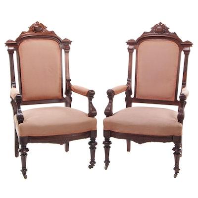 Pair of Victorian, Renaissance Revival Walnut Armchairs, Last Quarter 19th C.